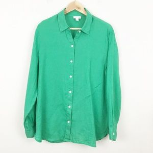 J Jill Love Linen Green Linen Button Down Shirt